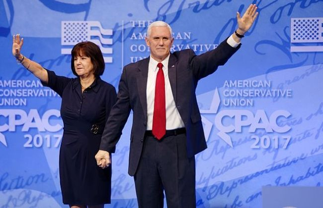 Mike and Karen Pence as seen at the CPAC in 2017