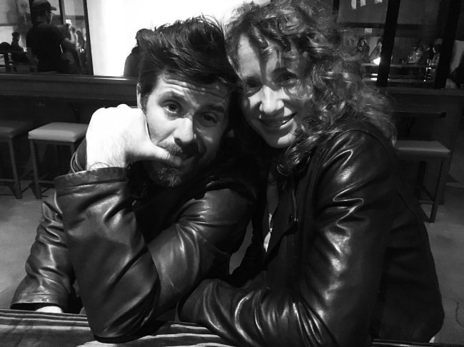 Rick Gomez in a black-and-white picture with his wife Jenifer Wymore