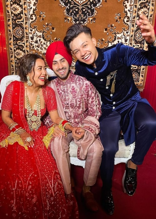 Riyaz Aly as seen in a picture with singer Neha Kakkar and her husband Rohanpreet Singh at their wedding in October 2020