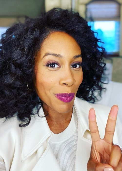 Simone Missick as seen while taking a selfie in Los Angeles, California in September 2020