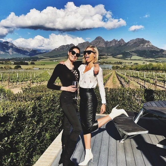 Tanya van Graan (Right) posing for a picture along with Nicole Williams at Cavalli Estate in Cape Town, South Africa in September 2020