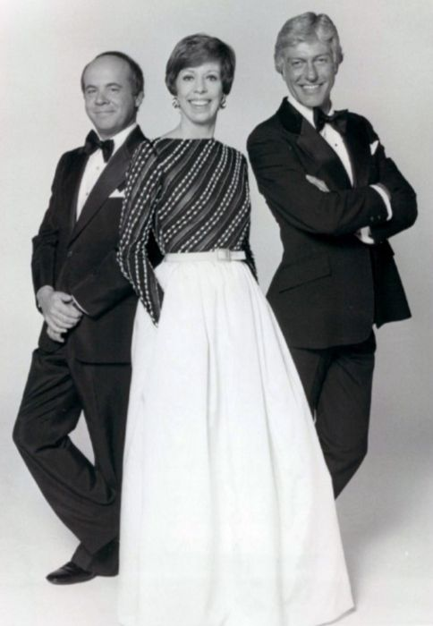 Tim Conway, Carol Burnett, and Dick Van Dyke from The Carol Burnett Show seen posing together