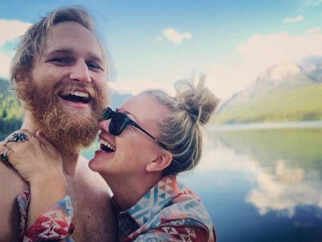Wyatt Russell as seen while clicking a selfie with Meredith Hagner in Polebridge, Montana in July 2020