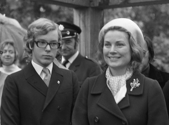 Albert II, Prince of Monaco pictured with his mother, Princess Grace, in 1972