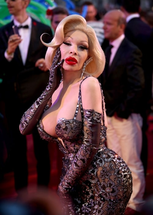 Amanda Lepore on the red carpet on the square in front of the Rathaus (Town Hall) of Vienna, Austria, on May 31, 2014