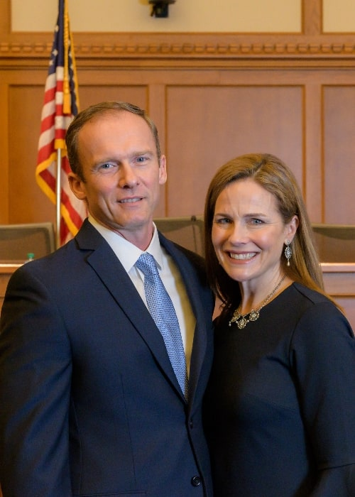 Amy Coney Barrett as seen while posing for a picture with her husband Jesse M. Barrett in February 2018