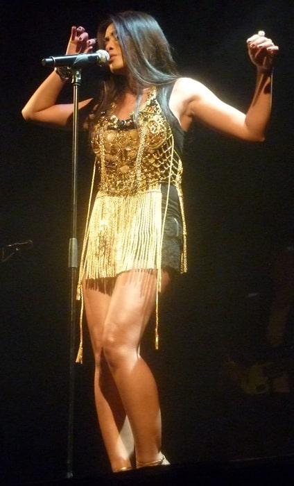 Anggun pictured in concert at Le Trianon, Paris in June 2012