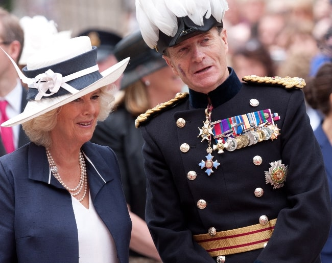 Camilla, Duchess of Cornwall and General Sir John McColl, Lieutenant Governor of Jersey, in 2012