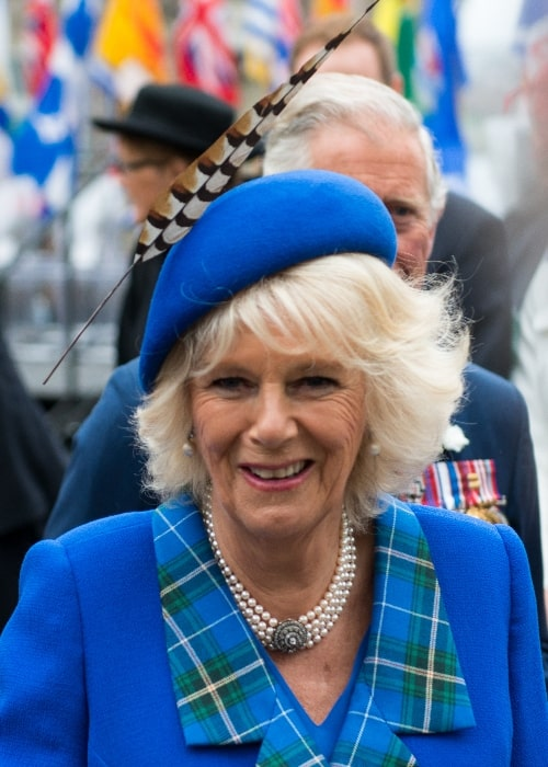 Camilla, Duchess of Cornwall pictured while chatting with Royal-watchers on Day 2 of the Royal Visit to Halifax, Nova Scotia, Canada in May 2014
