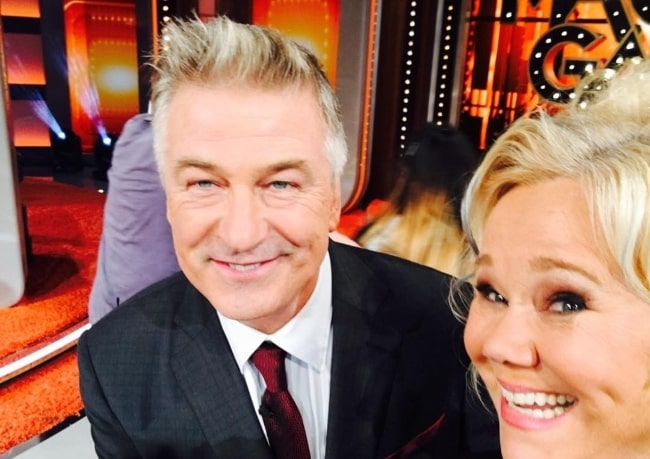 Caroline Rhea smiling in a picture alongside Alec Baldwin