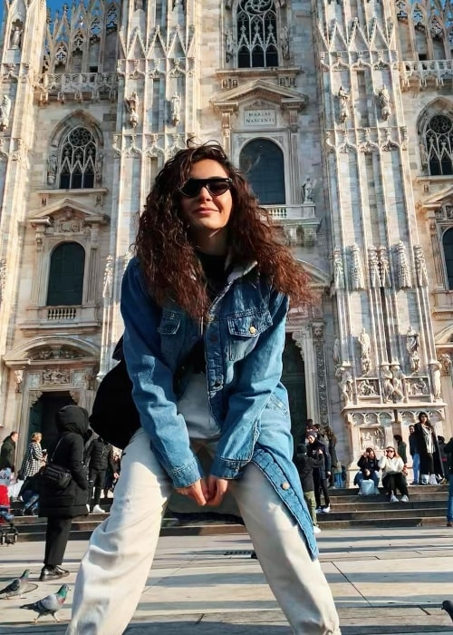 Ebru Şahin as seen while posing for a picture at Duomo di Milano - Milan Cathedral