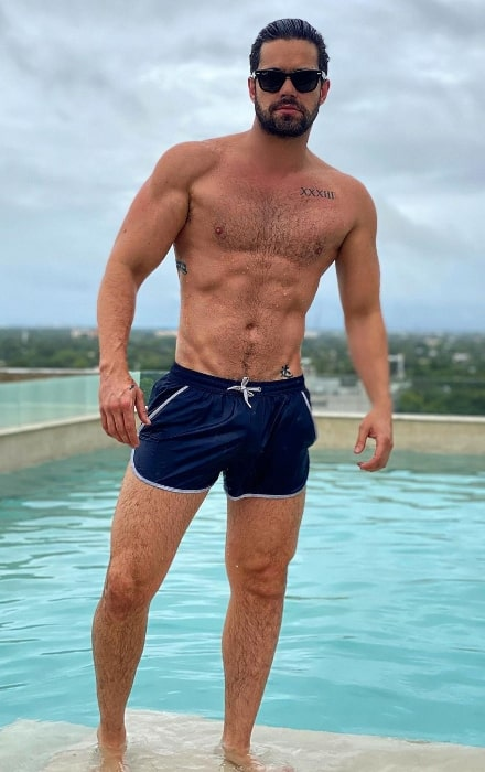 Eleazar Gómez as seen while posing shirtless for the camera in October 2020