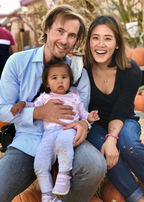 Erik von Detten smiling for a picture alongside his family in Marina del Rey, California