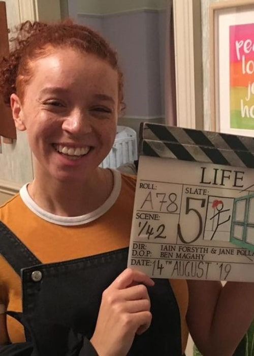Erin Kellyman on the sets of Life (2020) in November 2020