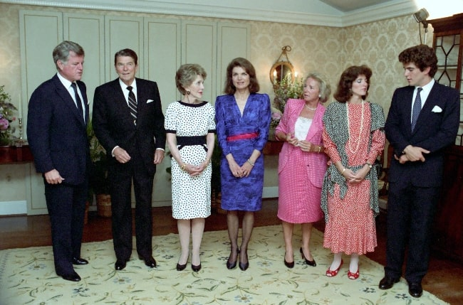 From Left - Ted Kennedy, Ronald Reagan, Nancy Reagan, Jacqueline Kennedy Onassis, Ethel Kennedy, Caroline Kennedy, and John F. Kennedy Jr. at a reception for The John F. Kennedy Library Foundation in 1985