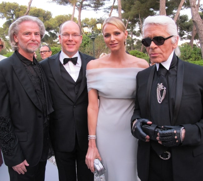 From Left to Right - Hermann Bühlbecker, Prince Albert II, Princess Charlene, and Karl Lagerfeld pictured at the 'Cinema Against AIDS' Gala in May 2011