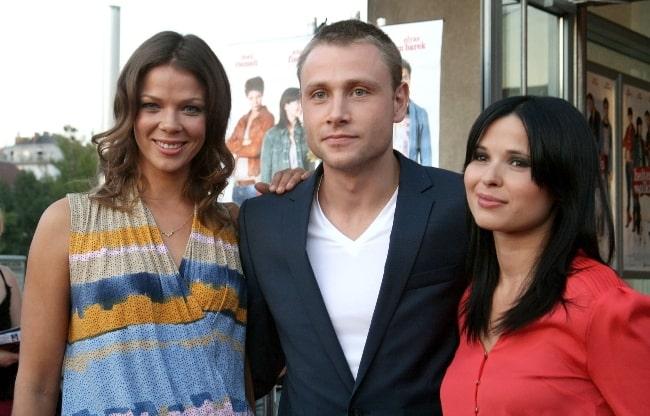From Left to Right - Jessica Schwarz, Max Riemelt, and Anna Fischer at the Austrian premiere of 'Heiter bis wolkig' at Urania cinema in Vienna, Austria in August 2012