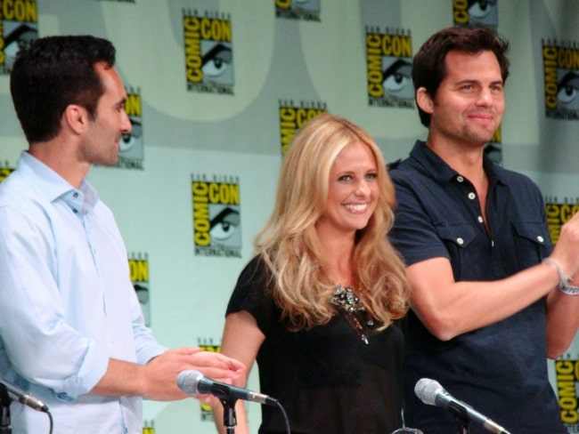 From Left to Right - Nestor Carbonell, Sarah Michelle Gellar, and Kristoffer Polaha at the 2011 San Diego Comic Con International