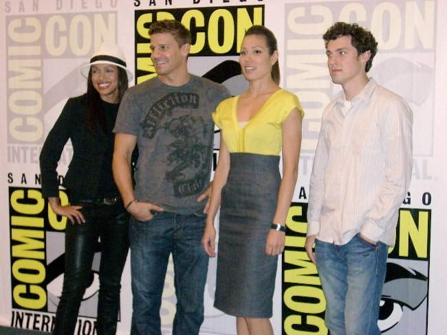 From Left to Right - Tamara Taylor, David Boreanaz, Michaela Conlin, and John Francis Daley in July 2008