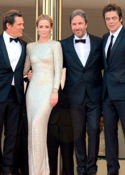 (From left to right) Josh Brolin, Emily Blunt, Denis Villeneuve, and Benicio del Toro as seen in 2015