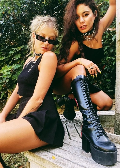 GG Magree (Left) as seen while posing for a picture along with Vanessa Hudgens in September 2020