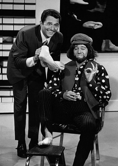 George Carlin (Right) and singer Buddy Greco in a skit from the summer replacement television program 'Away We Go'