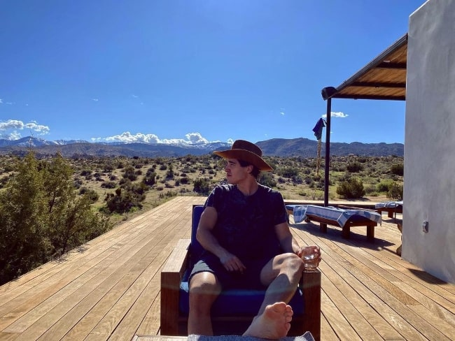 Henry Zaga as seen while enjoying his time at Joshua Tree National Park in California in April 2020
