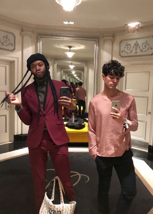 James Cusati-Moyer (Right) as seen while clicking a mirror selfie with Jeremy O. Harris at Café Carlyle in June 2018