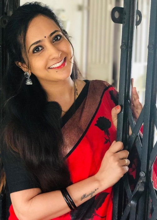 Lasya Manjunath as seen while smiling for a picture in August 2020