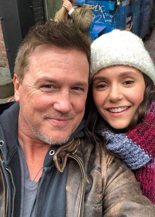 Lochlyn Munro as seen while smiling in a selfie alongside Nina Dobrev