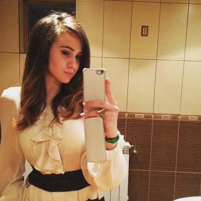 Maria Bakalova in May 2015 in her favorite babushka
