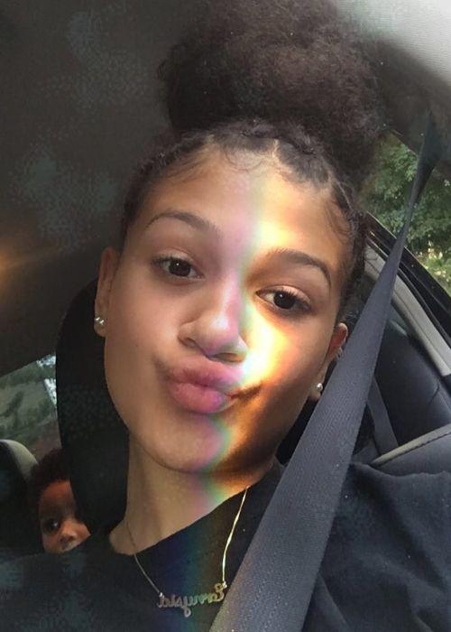 Mighty Neicy as seen in a selfie that was taken in July 2018