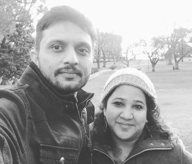 Mohammed Zeeshan Ayyub as seen in a black-and-white selfie with his wife Rasika Agashe