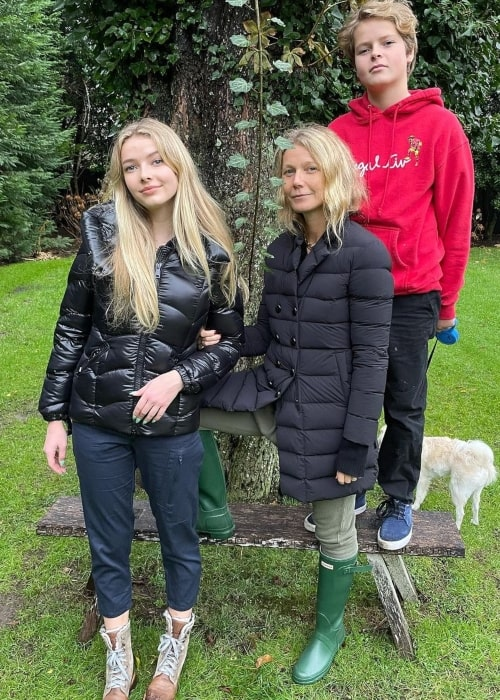 Moses Martin with his sister Apple Martin and his mother Gwyneth Paltrow in a picture that was taken in November 2020