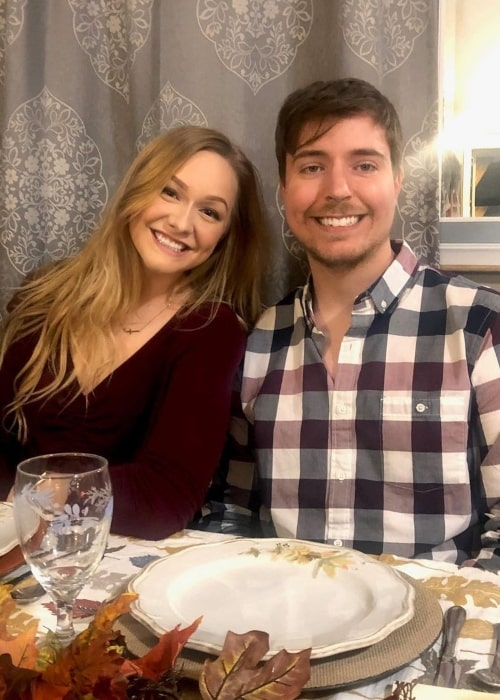 MrBeast as seen in a picture that was taken on Thanksgiving day in November 2019, with his girlfriend Maddy Spidell