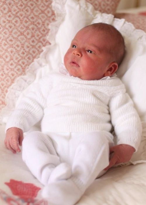 Newborn Prince Louis of Cambridge as seen in his first official portrait