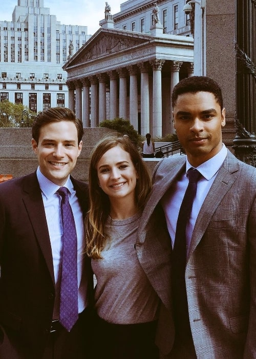 Regé-Jean Page (Right) posing for a picture along with Britt Robertson and Ben Rappaport in October 2017