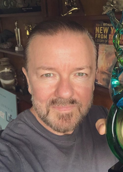 Ricky Gervais in an Instagram Selfie from August 2019
