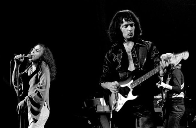 Ronnie James Dio (Left) and Ritchie Blackmore pictured while performing with 'Rainbow' at Chateau Neuf in Oslo, Norway in September 1977