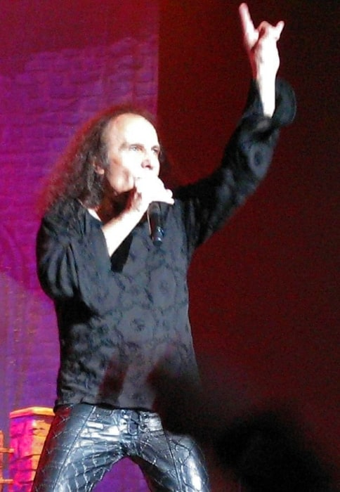 Ronnie James Dio as seen while waving 'sign of the horns' at 'Heaven and Hell' concert in November 2007