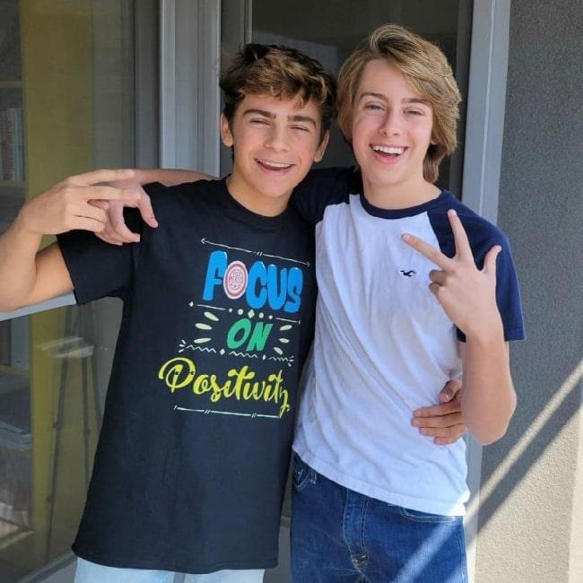 Ryker Baloun (Right) smiling in a picture alongside Ayden Mekus in September 2020