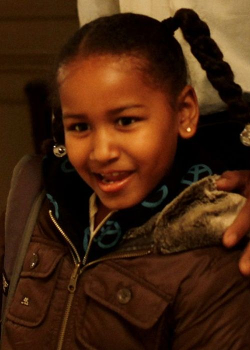 Sasha Obama as seen on her first day of school in 2009
