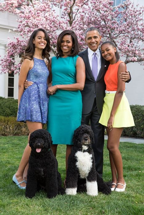 Sasha (extreme right) as seen with her family and dogs on Easter Sunday in 2015