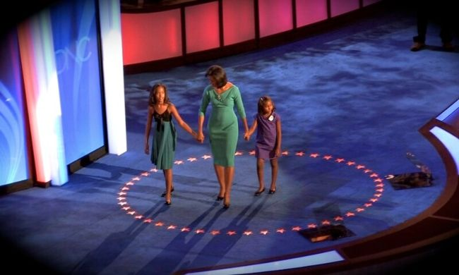 Sasha (right) as seen arriving with her mother and sister for the 2008 Democratic National Convention