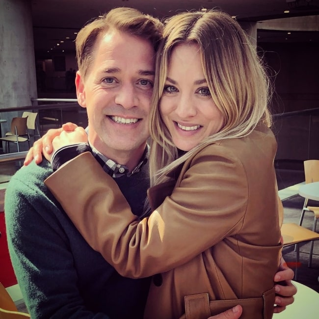 T. R. Knight smiling for a picture along with Kaley Cuoco in November 2020