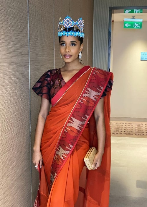 Toni-Ann Singh in March 2020 in a traditional Nepali Saree having fun exploring and celebrating fashion from all over the world