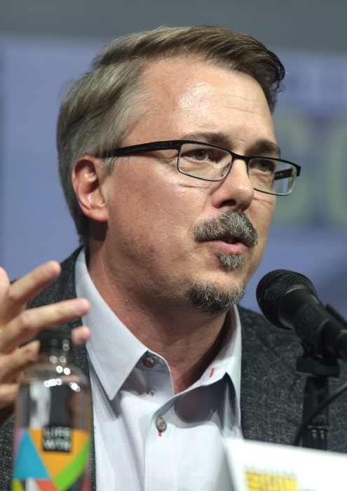 Vince Gilligan speaking at the San Diego Comic-Con International in San Diego in 2018