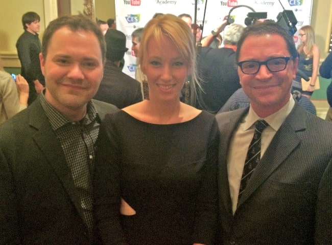 Wilson Cleveland (Left) as seen while posing for the camera along with Alexis Boozer and Joshua Malina at the inaugural IAWTV Awards in 2012