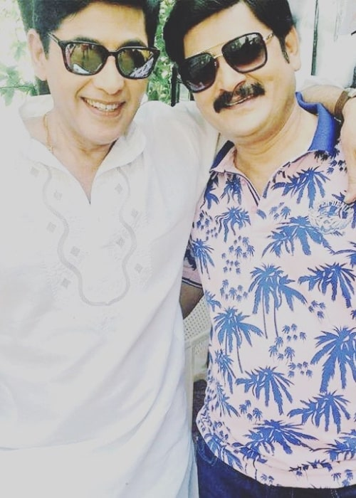 Aasif Sheikh (Left) as seen while posing for a picture alongside his 'Bhabi Ji Ghar Par Hai!' co-star Rohitash Gaud in an Instagram post in July 2018