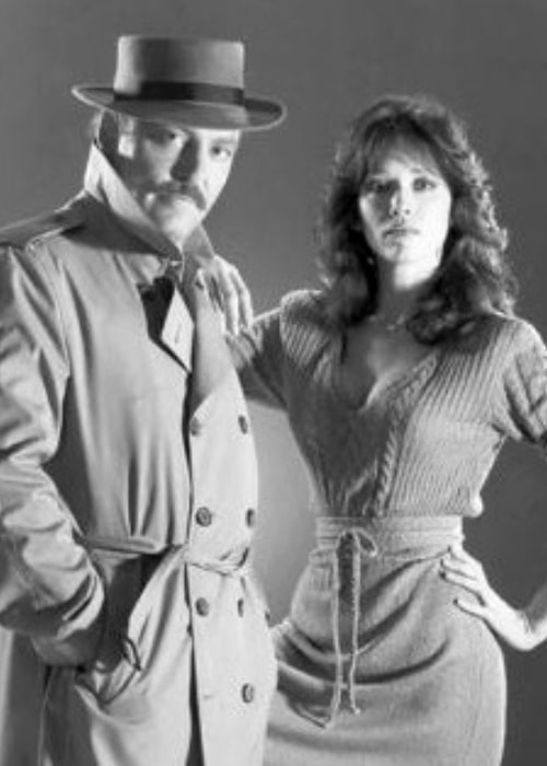Actor Stacy Keach and Tanya Roberts as seen in a picture that was taken in Murder Me, Murder You in 1983